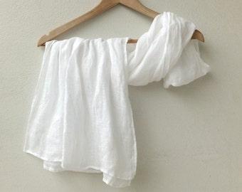 white linen scarf, extra long lightweight gauze wrap