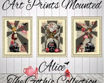 3 Art prints on antique dictionary book pages mounted Alice in wonderland The gothic collection on vintage book pages mixed media wall decor