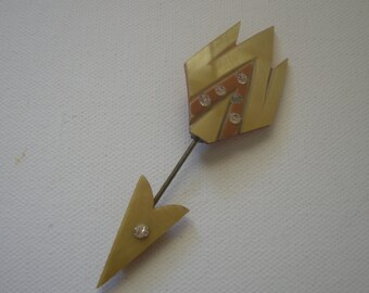 Art Deco Celluloid Jabot Pin Marbelized Butterscotch Rhinestone Inset