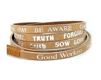 Good Work(s) Leather Wrap Around Bracelet with Positive Messages - Tan