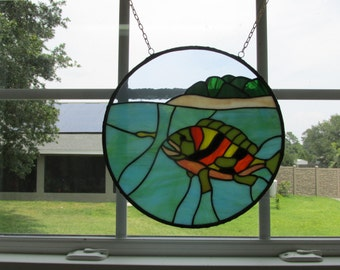 stained glass suncatcher (panel) fish with blue/green water