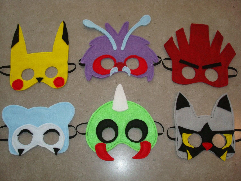 SET Of 6 Pokmon Inspired Felt Masks Halloween By
