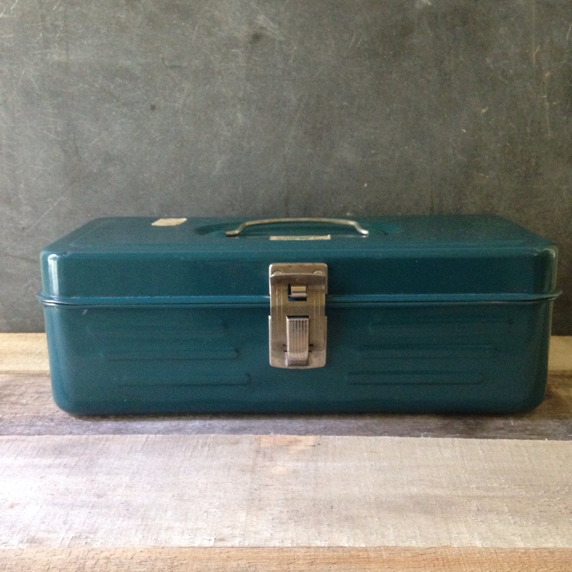 Teal 1950's Union Lunch Tool Or Tackle Box