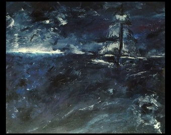 Sailing, sailor, sailboat Medium Sized Original Oil Painting Seascape/Landscape Black Pearl Dark Blue Ship