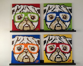 LEGO mosaic of pug wearing glasses