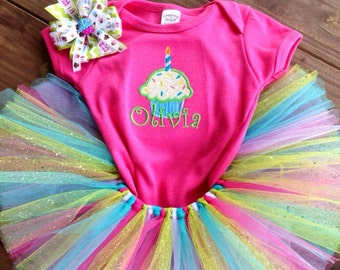 Cupcake tutu set, birthday party set, tutu set, personalized cupcake shirt