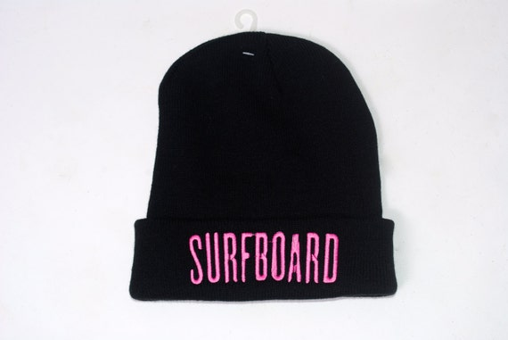 BEYONCE Drunk in Love SURFBOARD embroidered pink on Black novelty beanie hat cap Ready to ship