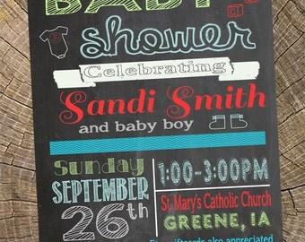 Baby Boy Chalkboard Shower Invitation