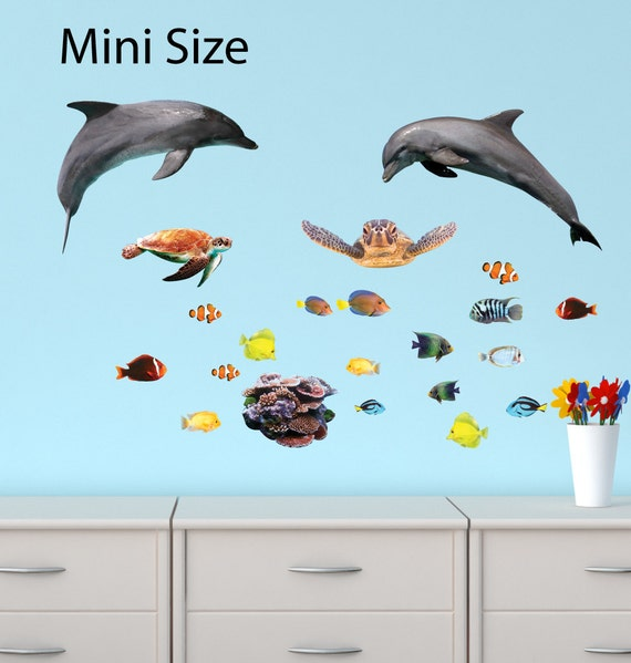 sea life wall decals dolphin stickers sea turtle wall