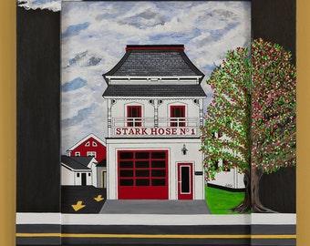 STARK HOSE No. 1, Bennington Vt.; Original approx. 14x17; acrylics on board