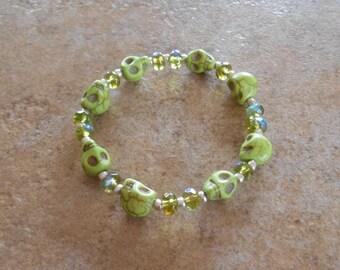 Howlite Crystal Skull bracelet
