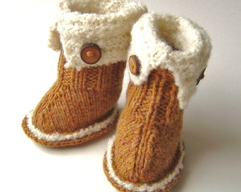 KNITTING PATTERN Baby Snugg Booties Tutorial quick and easy knitting pattern tutorial SnUggs pattern in 3 sizes PDF instant Download