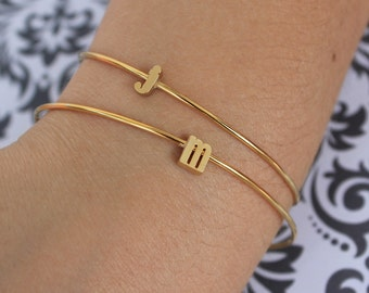 Gold Initial Bangle / Gold Letter Bracelet / Tiny Lowercase Initial Bracelet / Bridesmaid Gift / Personalized Jewelry / Dainty Minimalist