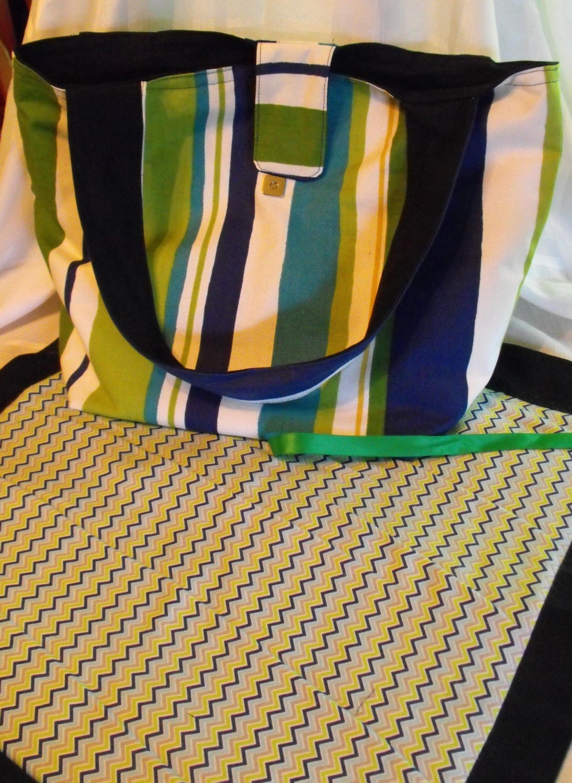 diaper bag set changing pad blue green yellow stripes diaper. Black Bedroom Furniture Sets. Home Design Ideas