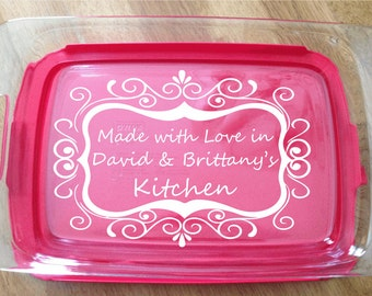 Personalized Pyrex Glass Bakeware Dish 9x13 Laser Engraved