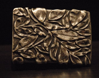 Belt Buckle Leaves - For Snap Leather Belt -  sterling silver plated