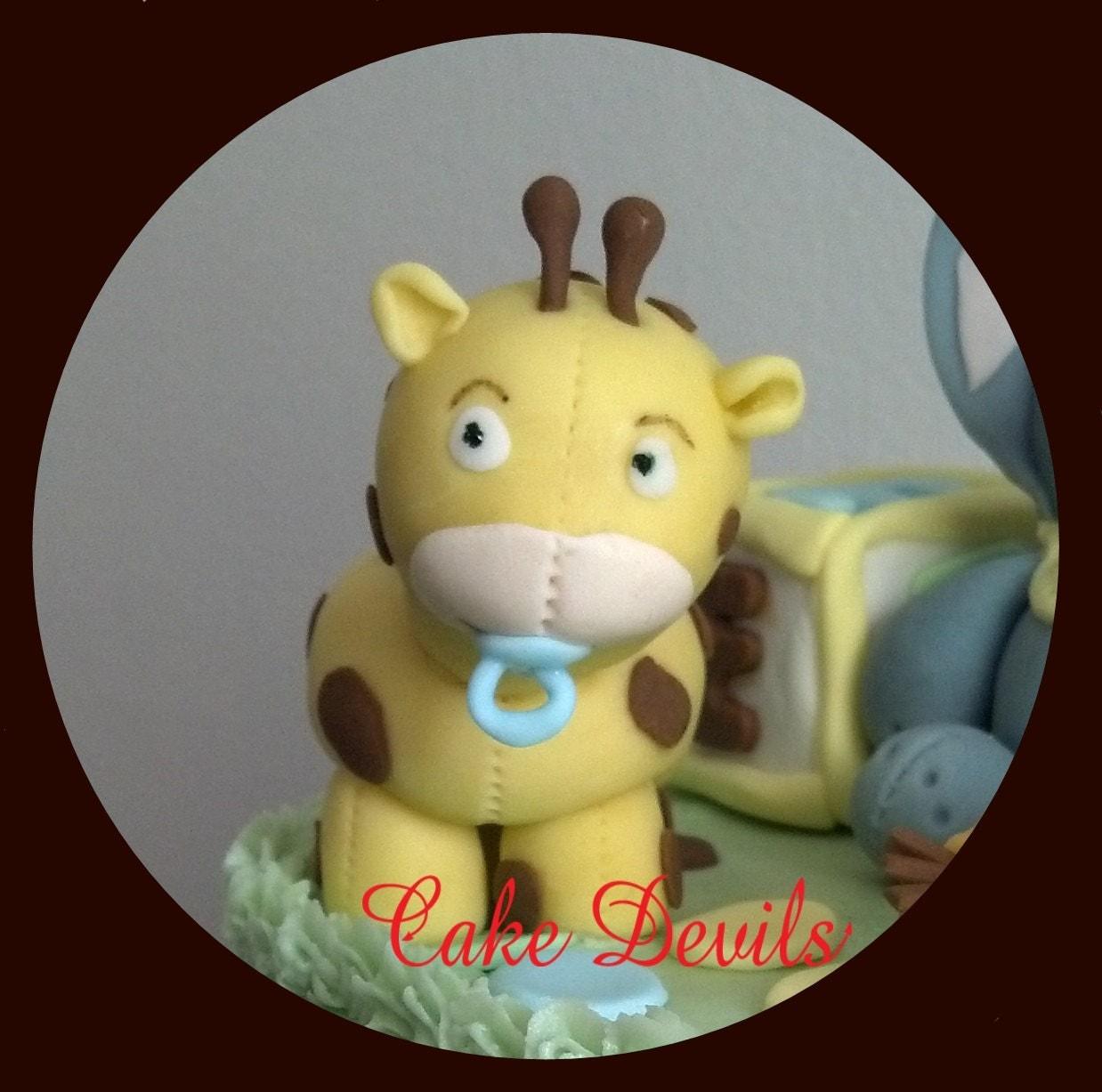 Fondant Giraffe Animal Cake Topper Giraffe Cake Topper Baby