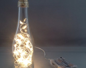 """Small Clear Bottle Light / Lighted Bottle with """"Warm"""" White LEDs"""