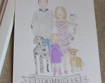 Family of Four - Custom Watercolor Portrait