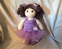 Crochet Ballerina Doll PATTERN , amigurumi doll pattern , doll in a tutu tutorial ,  Sweet Lavender and Daisy  PDF - instant download pdf