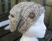 Cabled Button Slouch Hat