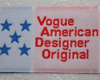 LOT OF 3 x VOGUE American Designer Original Sew-In Labels For Designer Sewing Patterns Fabric Labels Vintage Rare