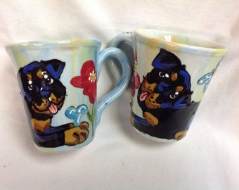 Hand Painted Ceramic Coffee Mug - Rottweiler