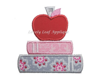 DIGITAL ITEM: Apple on Books Applique Design 4x4 and 5x7