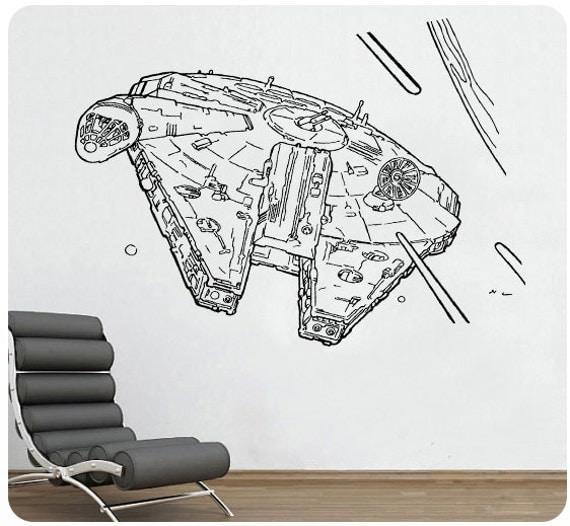Star Wars Millenium Falcon Wall Decal Sticker Movie Sci Fi