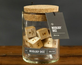 Today Show Featured  Mixology Dice Tumbler - Laser engraved wood dice inspire craft cocktails // gift for him, hostess gift