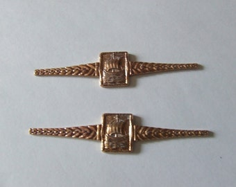 Vintage Ring Bars or Brooch Fronts with Celtic Viking Galleons Design X 5 Copper