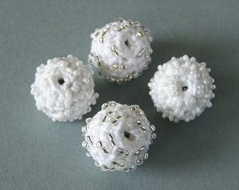 4 Handmade Crochet Beaded Beads