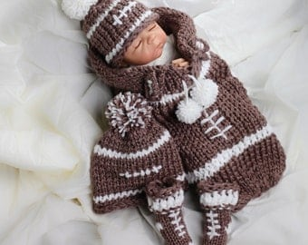 Loom Knit newborn cocoon PATTERN, loom knit hat pattern loom knit booties PATTERN Football Themed Cocoon, hat booties Pattern, PDF Download.