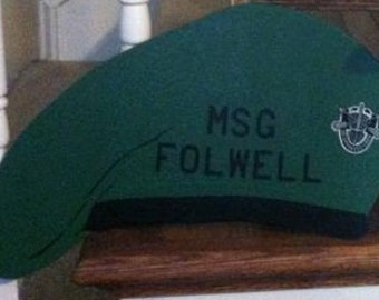 Personalized Wood Painted Military Beret with Insignia