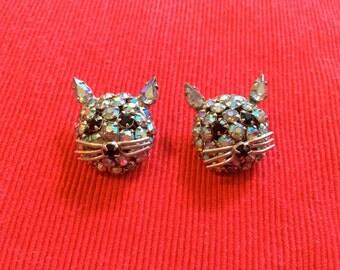 Set of 2 Rhinestone Warner Cat Brooch Pins
