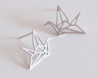 Origami Crane Stud Earring - Silver - Jewelry - Geometric - Animal - Bird - Abstract