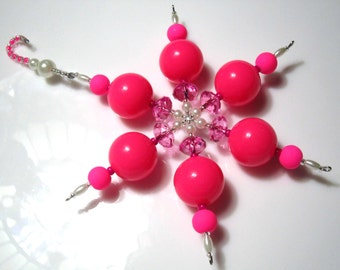 Beaded Snowflake Ornament - Merry & Bright Hot Pink with Pearls