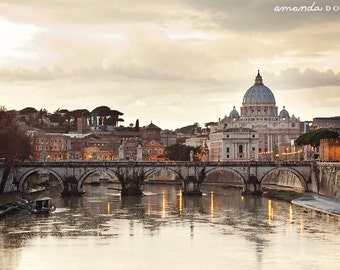VIew of St. Peter's Basilica with river from bridge - Rome, Italy