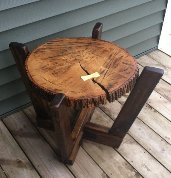 Log Slab Side Table Or Coffee Table With A By Wolfcreekfurnitureco