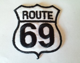 Route 69 Car Freeway sign Road applique iron on patch