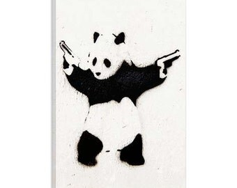 Panda With Guns by Banksy Canvas Art Print on Gallery Wrapped Canvas, banksy canvas prints , Canvas Art Print