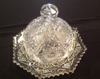 EAPG U.S. Glass Round Covered Butter Dish-Omnibus Pattern