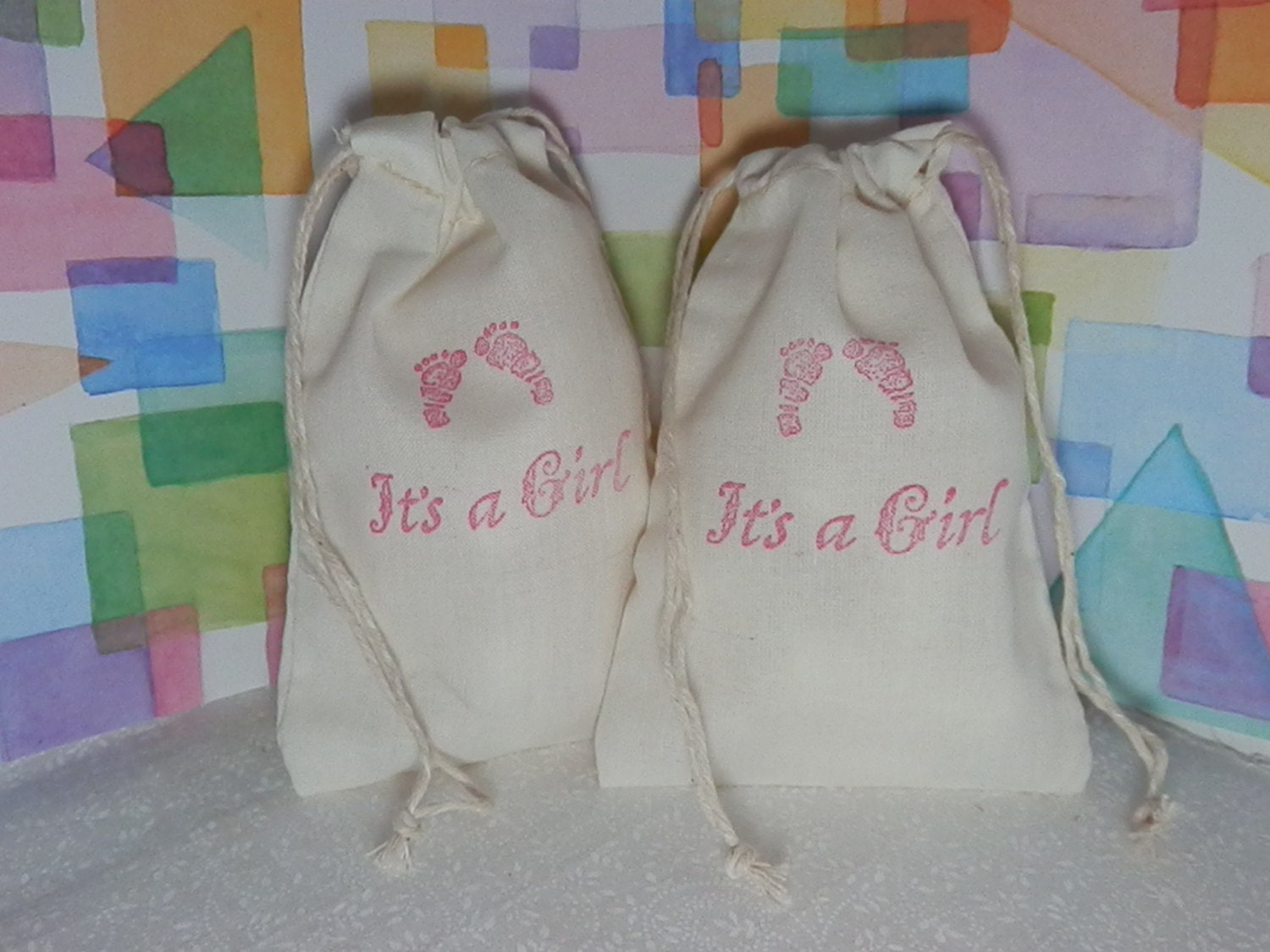 baby shower gift bags set of 10 cotton muslin by baggingitup