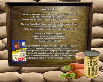 WW2 Second World War Recipe Rationing A5 A4 canvas Print Woolton Pie cooking homefront  1940s
