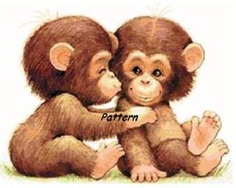 2 monkeys. Cross Stitch Pattern. PDF Files.