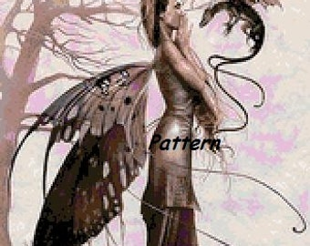 Fairy and Dragon. Cross Stitch Pattern. PDF Files.
