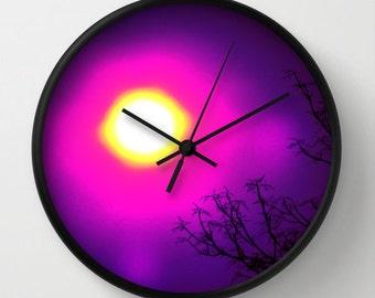 Purple Sun Wall Clock, Nature Photography, Sunset Photography, Black Pink Fuchsia Sky & Tree Top Photo
