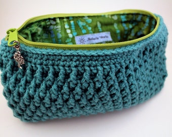 turquoise crochet clutch purse with batik lining, Ready to Ship