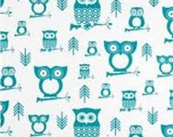 """DISCONTINUED Premier Prints Hooty Owls Turquoise 54"""" wide Fabric by the yard cotton decorator fabric FAST SHIPPING"""