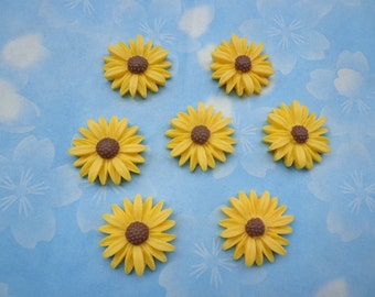 Flower Cabochons Resin Flowers 50pc yellow Color Resin Sunflower Charms--27mm